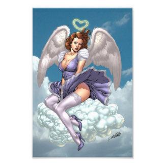 Pinup triguenho do anjo com halo do coração pelo A Impressão De Foto