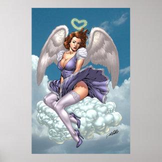 Pinup triguenho do anjo com halo do coração pelo A Poster