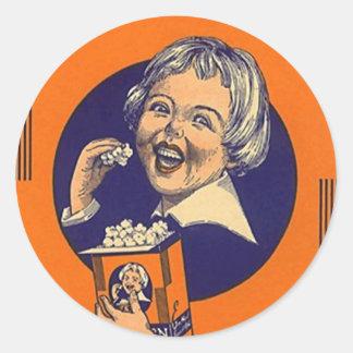 Pipoca do vintage da etiqueta que anuncia o Hap Adesivo