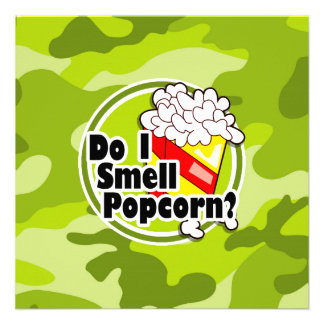Pipoca engraçada camo verde-claro camuflagem convite personalizado