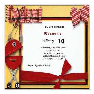 Piquenique do aniversário convite quadrado 13.35 x 13.35cm