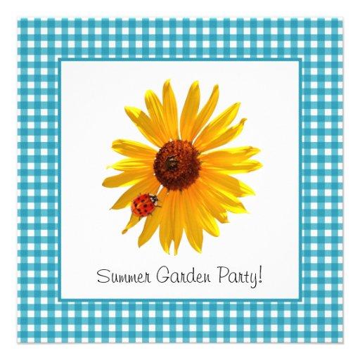Piquenique do girassol do partido de jardim do ver convites