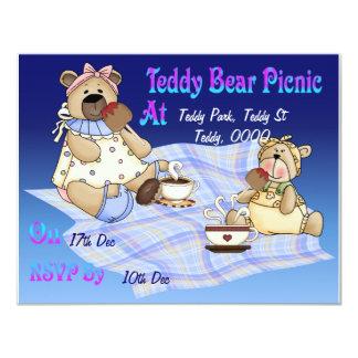 Piquenique do urso de ursinho convite 10.79 x 13.97cm