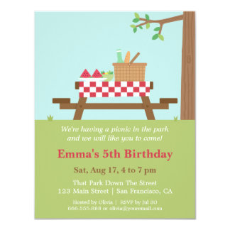 Piquenique nos convites de festas de aniversários