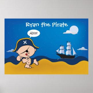 Pirata com a decoração do navio para a sala de um poster