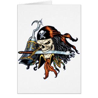 Pirata do crânio com espada e gancho pelo Al Rio Cartão Comemorativo