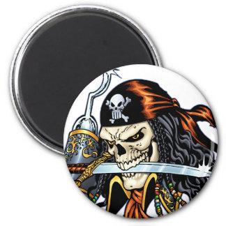 Pirata do crânio com espada e gancho pelo Al Rio Ímã Redondo 5.08cm