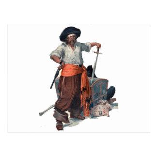 Pirata e tesouro cartão postal