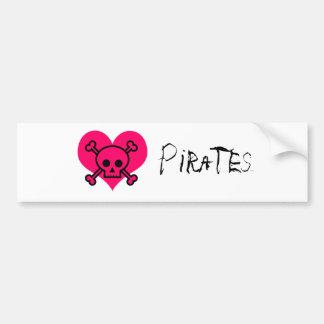 Piratas cor-de-rosa do coração adesivo para carro