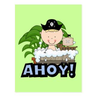 Piratas da banheira - camiseta e presentes louros cartão postal