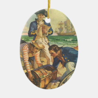 Piratas do conto de fadas do vintage, ilha do ornamento de cerâmica oval