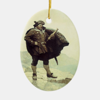 Piratas do vintage, capitão Bill Osso por NC Wyeth Ornamento De Cerâmica Oval