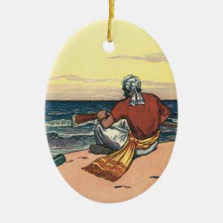 Piratas do vintage, Marooned em uma ilha Ornamento De Cerâmica Oval