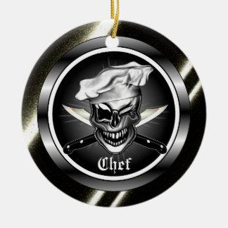 Pisc o crânio do cozinheiro chefe ornamento de cerâmica redondo