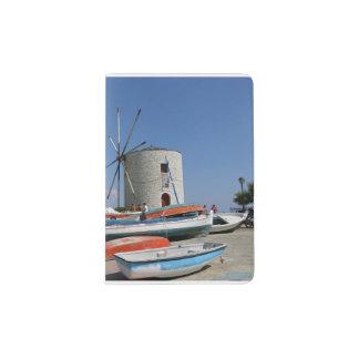 Piscina, Corfu, moinho de vento velho, suporte do Capa Para Passaporte