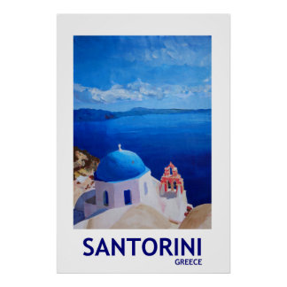Piscina de Santorini - poster retro II do estilo Pôster