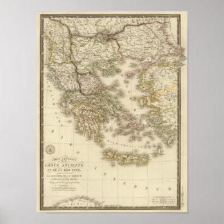 Piscina histórica, mapa do atlas de Paris Poster