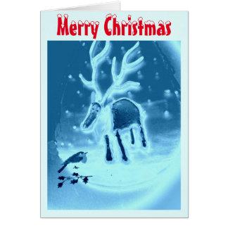 Pisco de peito vermelho festivo da rena na neve cartão comemorativo