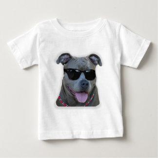Pitbull azul com vidros tshirt