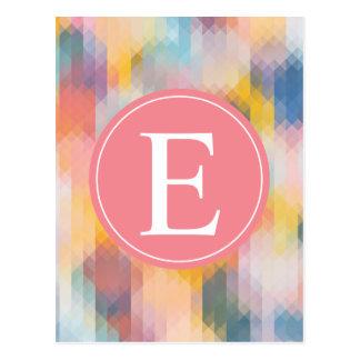 Pixéis amarelos azuis cor-de-rosa do monograma cartão postal
