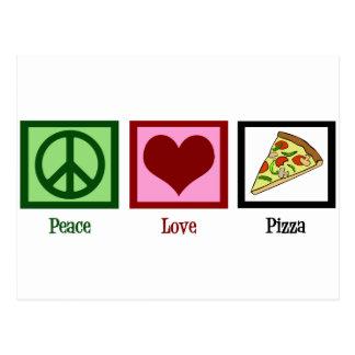 Pizza do amor da paz cartão postal