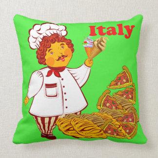 Pizza do vetor, sorvete, homem Italia Almofada