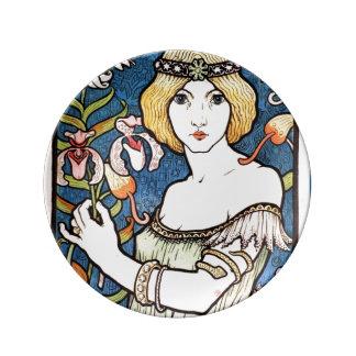 Placa 1896 bonita do design de Nouveau da arte do Pratos De Porcelana