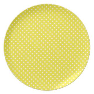 Placa amarela da melamina do teste padrão de prato de festa