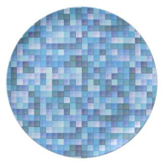 Placa azul do mosaico louças de jantar