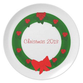 Placa da grinalda do Natal Louças De Jantar