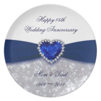 Placa da melamina do aniversário de casamento do louças de jantar