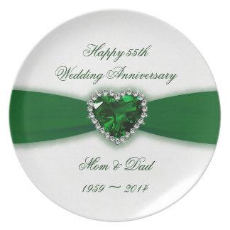 Placa da melamina do aniversário de casamento do pratos de festas