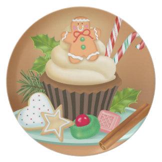Placa da melamina do cupcake do Natal Louça De Jantar