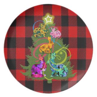 Placa da melamina dos coelhos do Natal Prato De Festa