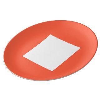 Placa de comensal do art deco pelo vermelho do louça