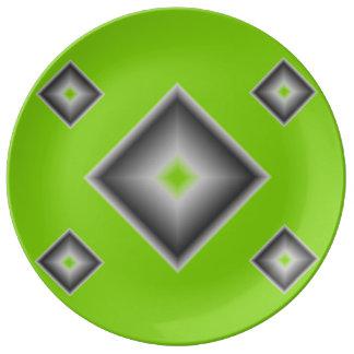 Placa de comensal verde da porcelana dos diamantes prato de porcelana