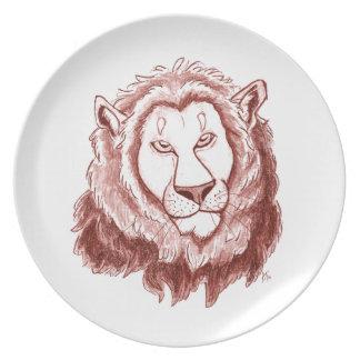 Placa de comensal vermelha do esboço do lápis da prato de festa