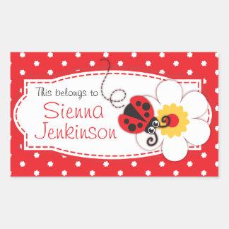 placa de livro do joaninha dos miúdos ou etiqueta adesivo retangular