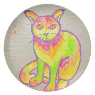 Placa de néon pintado mão da melamina do gato pratos