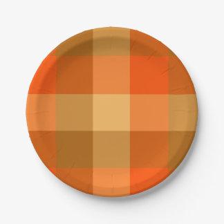 Placa de papel da xadrez alaranjada prato de papel