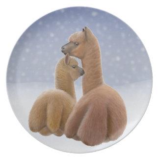 Placa do amor da alpaca do inverno pratos de festas