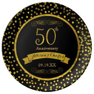 Placa do aniversário da data do casamento do ouro prato de porcelana