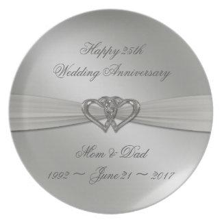 Placa do aniversário de casamento da prata louça de jantar