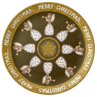 Placa do anjo do Natal Pratos De Porcelana