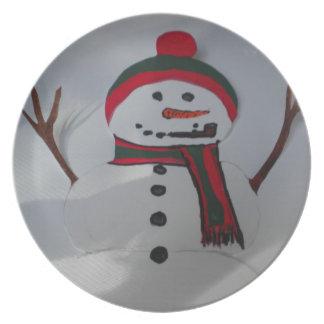 Placa do boneco de neve pratos