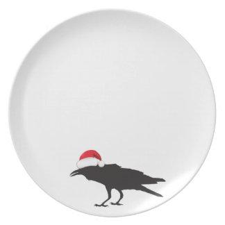 Placa do Natal do corvo Prato