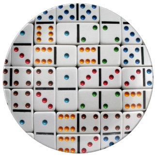 Placa dos dominós pratos de porcelana