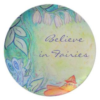 Placa feericamente da arte do jardim da flor louças de jantar