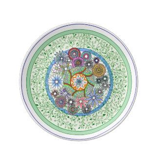Placa floral prato de porcelana