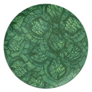 Placa floral verde do pátio louças de jantar